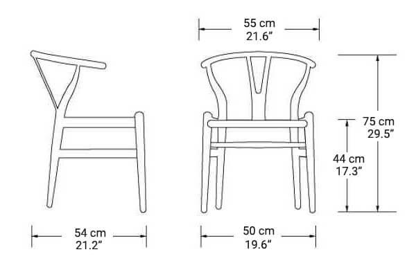 Wishbone Wooden Chair Size